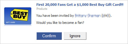 Image of a Facebook invitation to become a fan