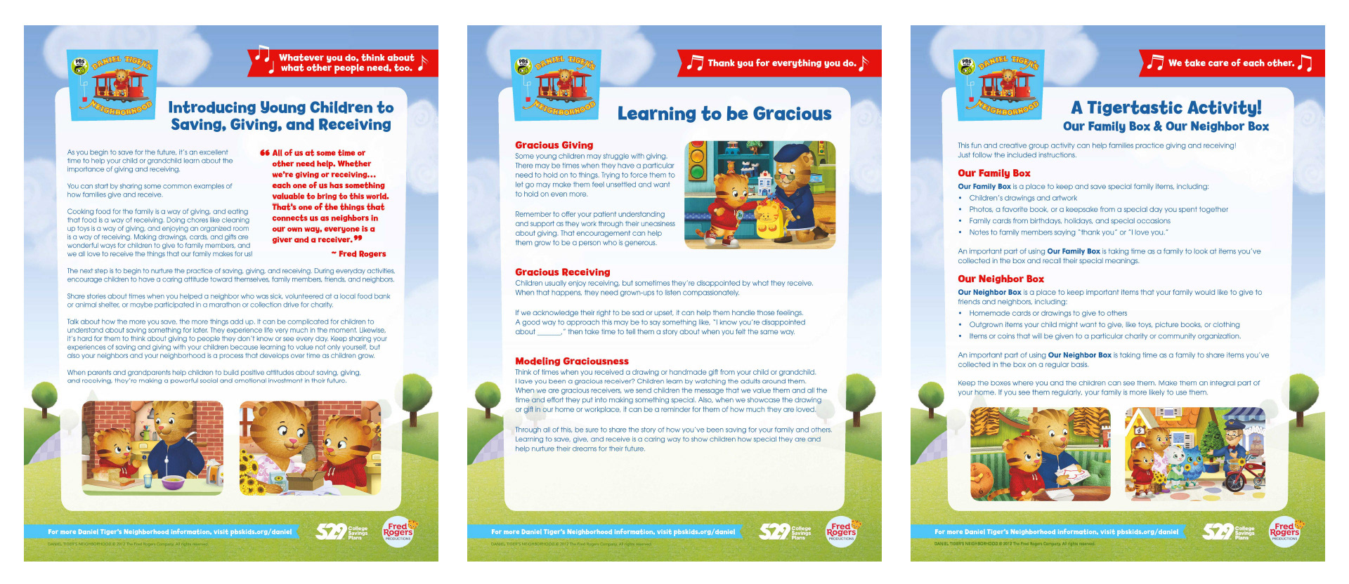 529 College Savings Plans Daniel Tiger's Neighborhood Activity Sheets
