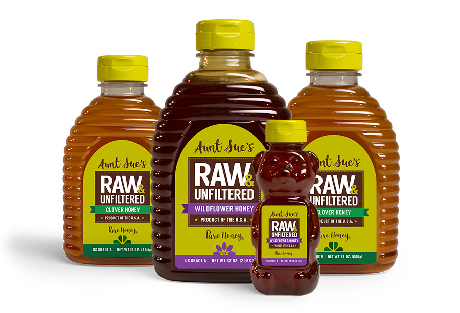 Aunt Sue's Raw & Unfiltered Honey Packaging