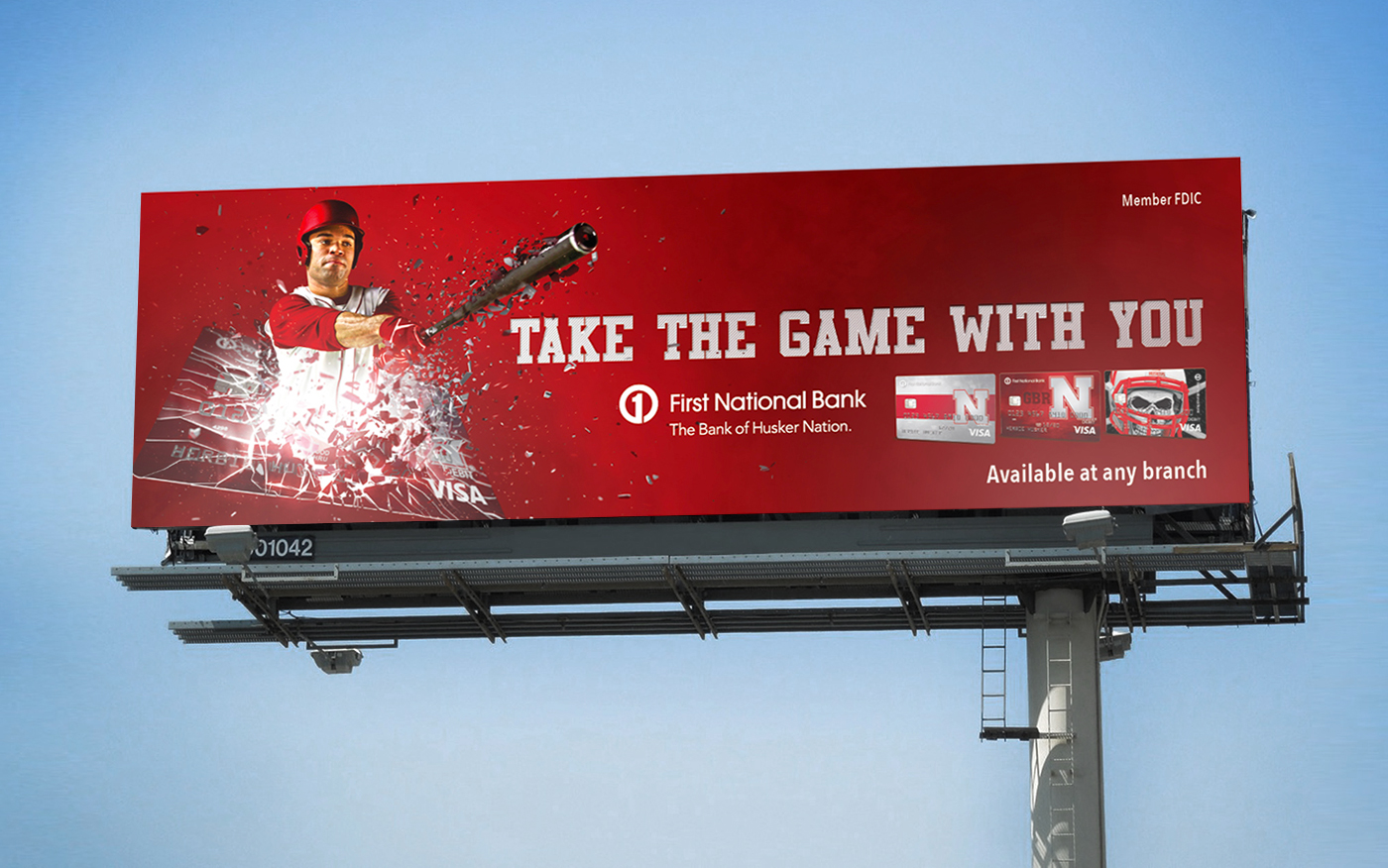 First National Bank Take the Game With You Out-of-Home Baseball Billboard