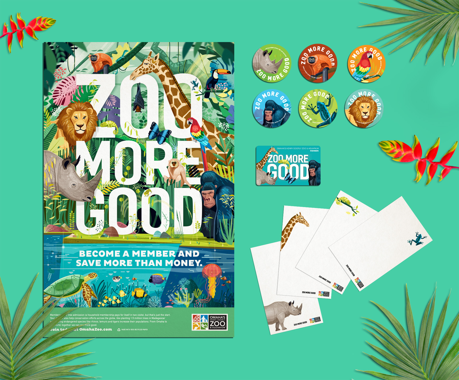 Zoo More Good Campaign Mockup with Poster, Buttons and Collateral