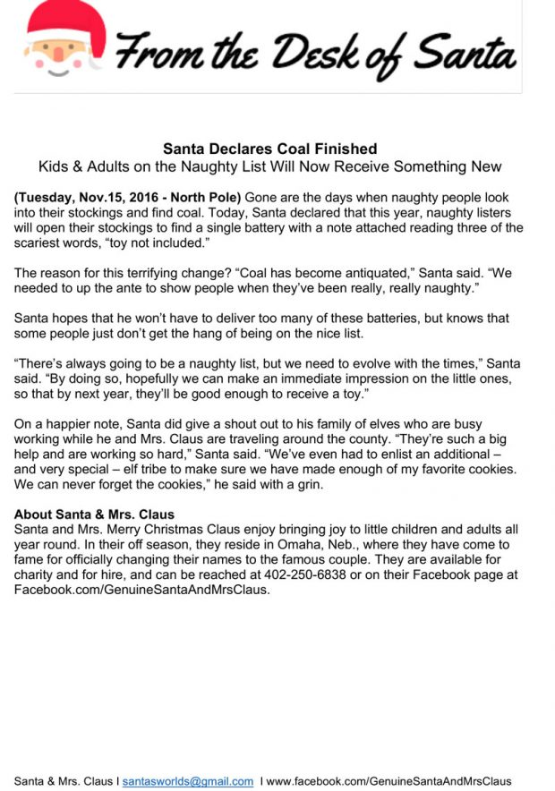Santa and Merry Christmas Claus wanted a press release for their new mission of replacing coal with batteries for naughty kids