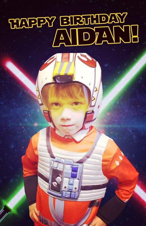 Mom and dad wanted a birthday poster for their 6 year old, Aidan, who loves Star Wars