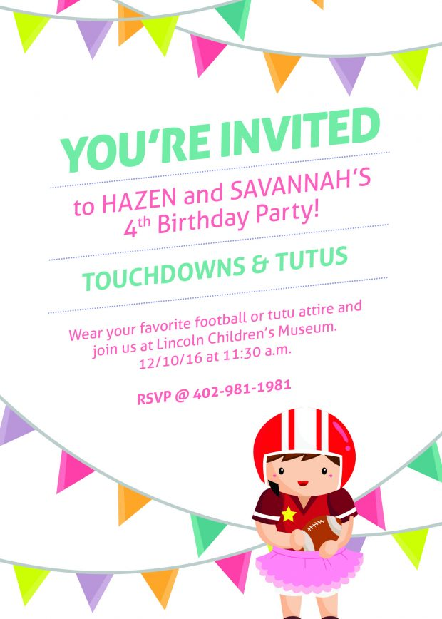 Michelle asked us for a birthday invite for her twins, Hazen and Savannah, with the theme touchdowns and tutus