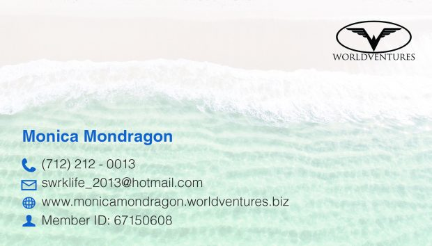 Monica wanted a business card for her company, World Ventures